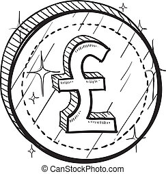 British Pound sketch - Doodle style coin with currency...