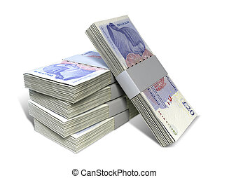 British Pound Sterling Notes Bundles Stack - A stack of...