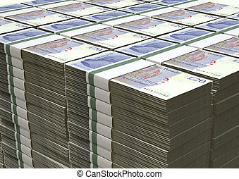 A stack of bundled British Pound Sterling banknotes on an isolated background