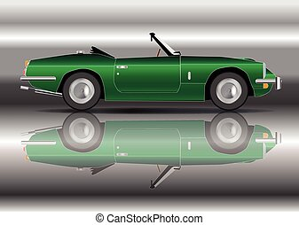 British Racing Green Sports Car - A classic old style sports...