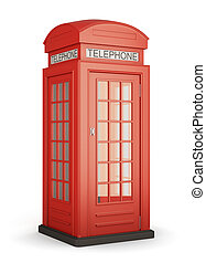 British red phone booth. 3d.