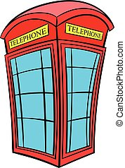 British red phone booth icon cartoon