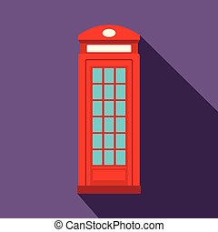 British red phone booth icon, flat style
