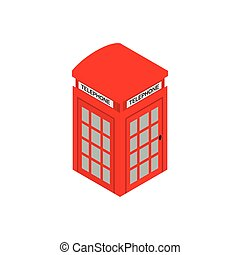 British red phone booth icon, isometric 3d style