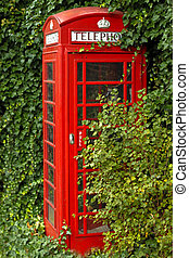 British red telephone box - Picture, Tourism, alone, autumn,...