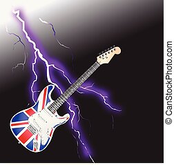 British Rock and Roll Guitar Realistic lightning - British...