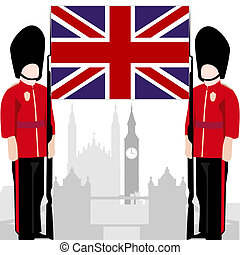 The national flag of the United Kingdom, and architecture. Royal Guardsmen. Illustration on white background.