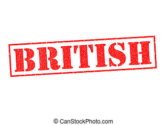 BRITISH Rubber Stamp over a white background.