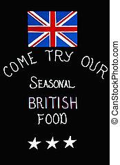 British seasonal food. - Sign offering seasonal british food...