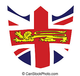 British Shield Emblem - Shield with a union jack and the...