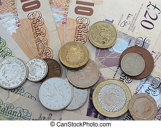 British Sterling Pounds (GBP) banknotes and coins