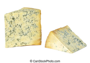 British Stilton cheese - Two sections of Stilton cheese on ...