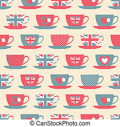 British Teatime Background - Seamless pattern with teacups.