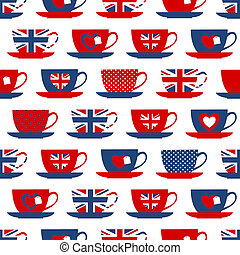 Seamless pattern with teacups in the colors of the British flag.
