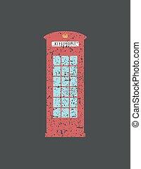 British telephone box London vintage style , word in grunge ,