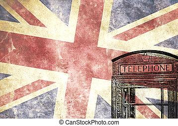 British telephone box with Union Jack flag
