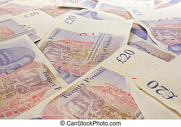 British Twenty pound notes - Background of English twenty...