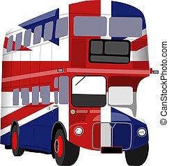 British Union Jack Flag Bus - Simple graphic illustration of...