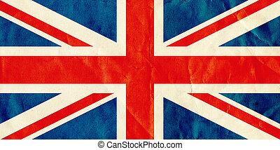 British Union Jack flag on old textured paper.