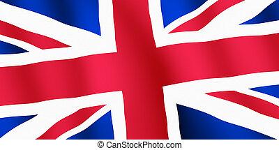 British Union Jack flag ripples close up.