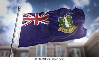 British Virgin Islands Flag 3D Rendering on Blue Sky Building Background