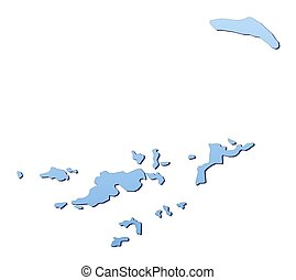 British Virgin Islands map filled with light blue gradient. High resolution. Mercator projection.