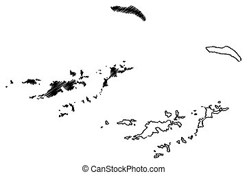 British Virgin Islands map vector illustration, scribble sketch British Virgin Islands