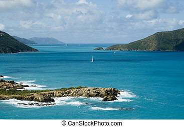 View from Camanoe Island in the BVI over the Caribbean Sea to Tortola, Guana Island and Little Camanoe Island