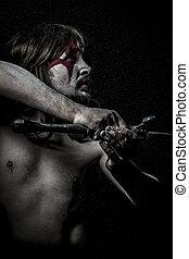 brits, wilde, strijder, met, ijzer, zwaard