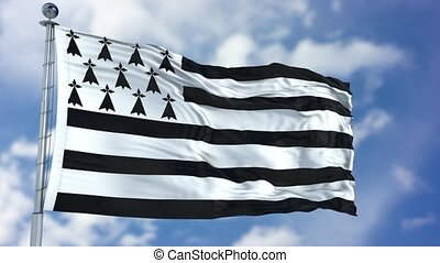 Brittany Flag in a Blue Sky. Use this clip loud and proud to...