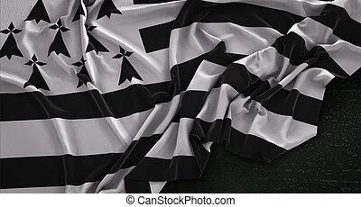Brittany Flag Wrinkled On Dark Background 3D Render