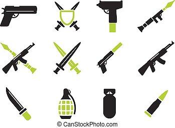 broń, prosto, ikony