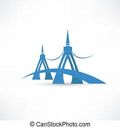 bro, över, den, flod, abstraktion, ikon