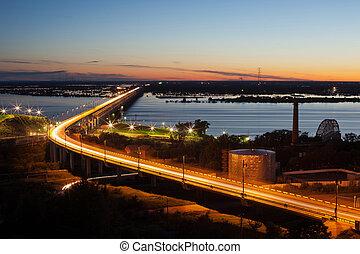 bro, över, den, flod