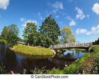 bro, över, den, flod, i parken
