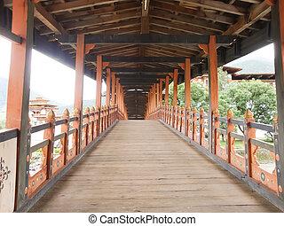 bro, över, den, flod, in, bhutan