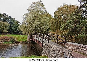 bro, över, den, flod, in, bibury