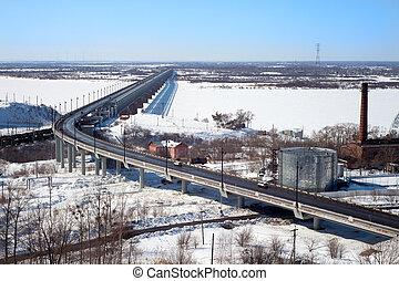 bro, över, den, flod, in, vinter