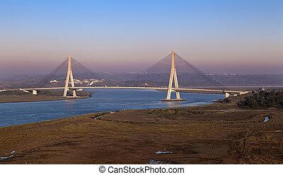bro, över, den, guadiana, flod, in, ayamonte