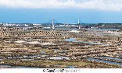 bro, över, den, guadiana, flod