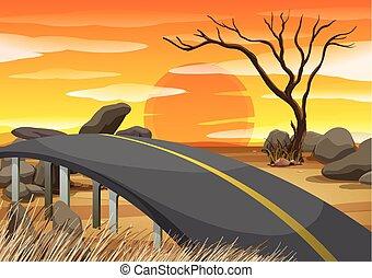 bro, över, den, savann, fält