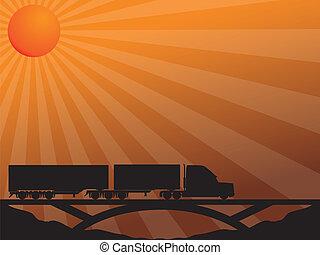 bro, övergående, lastbil, solnedgång