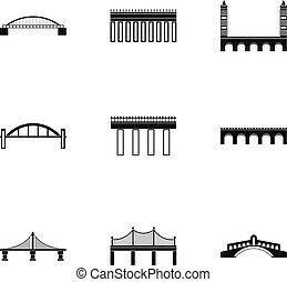 bro, övergång, ikonen, sätta, enkel, stil