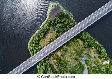 bro, antenn, ö, över, mitt, grönt flod, dnepr, väg, synhåll