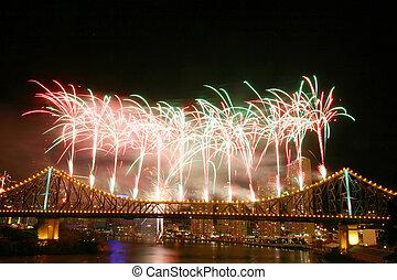 bro, berättelse, fireworks
