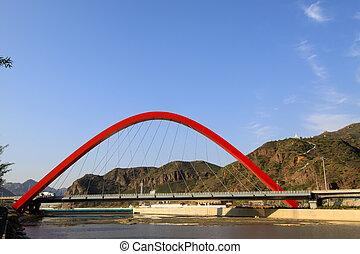 bro, byggnad, landskap, under, den, blåttsky