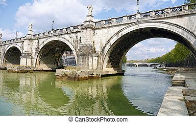 bro, hen, den, flod tiber, ind, rome
