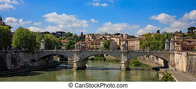 bro, hen, flod tiber, -, rome, italien