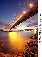 bro, hos, solnedgång, ögonblick