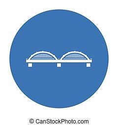 bro, ikon, black., singel, byggnad, ikon, från, den, storstad, infrastruktur, black.